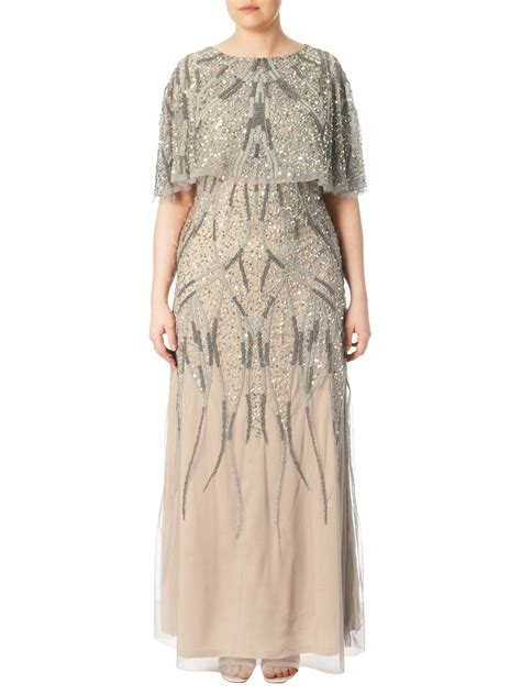 Papell Plus Size Beaded Cape Dress Exclusive