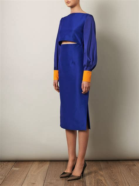 Kemeja Dress 2 Lapis lyst roksanda auster lapis fitted dress in blue