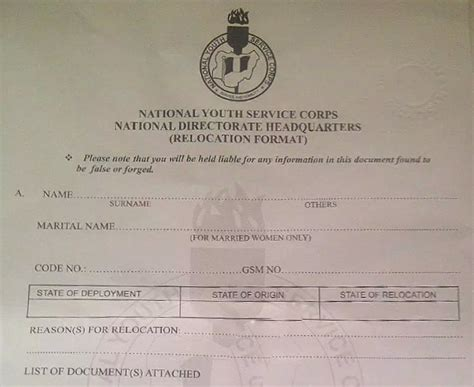 Acceptance Letter Nysc how to apply for nysc redeployment relocation nysc cds