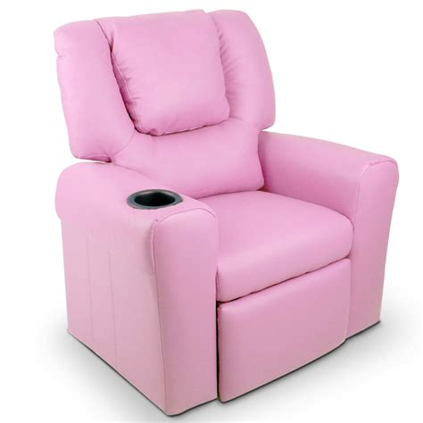 Youth Recliner Chairs Padded Pu Leather Recliner Chair Pink