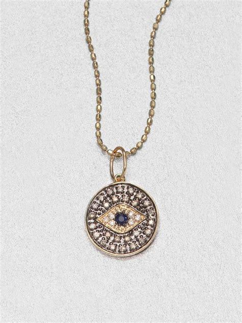 sydney evan 14k gold small evil eye medallion