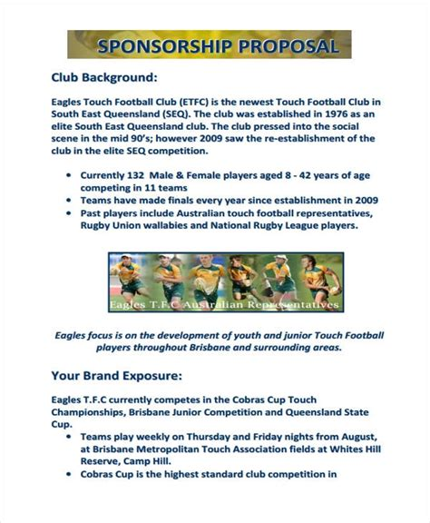 sports team sponsorship proposal template sports team sponsorship template one
