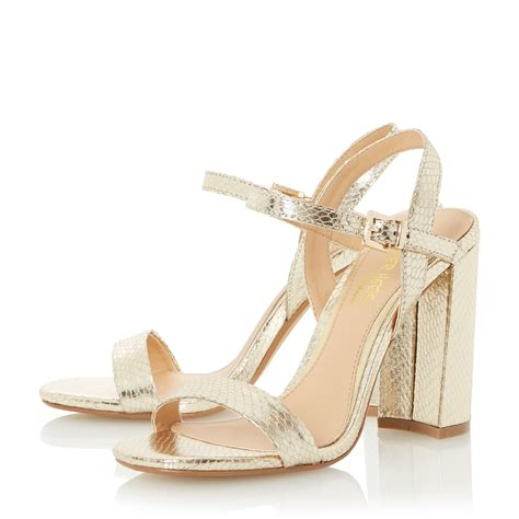 Two Block Heel Sandal - dune maylie two part block heel sandals in metallic lyst