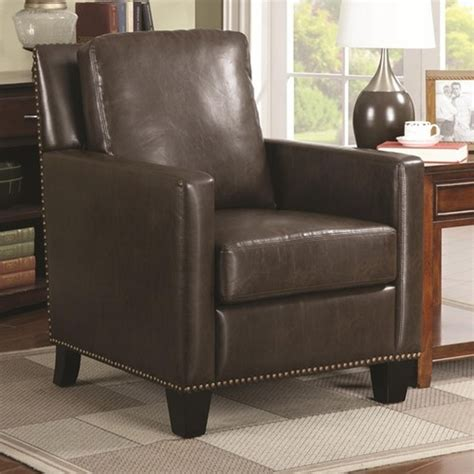Accent Chair With Brown Leather Sofa by Coaster 902174 Brown Leather Accent Chair A Sofa