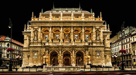 budapest opera house quot hungarian state opera house at night budapest hungary quot posters by acaldwell redbubble
