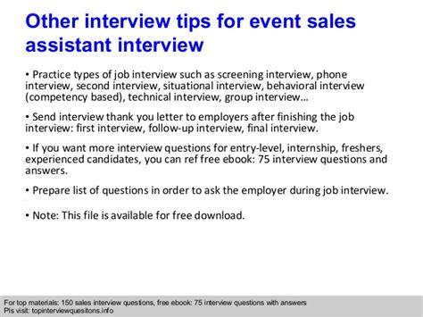 event sales assistant questions and answers