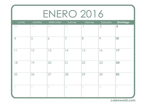 calendario para imprimir 2016 mes por mes calendario enero 2016 calendarios para imprimir