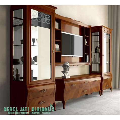 Lemari Tv Jati bufet lemari hias tv minimalis mewah mebel jati minimalis