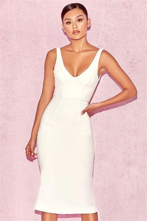 Midi Dress 166 clothing bodycon dresses hama white piped flare hem midi dress