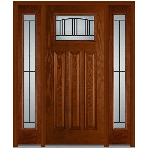 Front Door With Sidelites Milliken Millwork 60 In X 80 In Right Craftsman 1 4 Lite Classic Stained