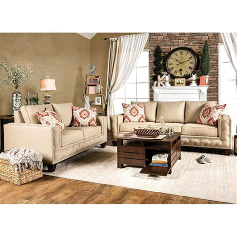 furniture of america living room collections furniture of america medley 2 piece fabric sofa set in