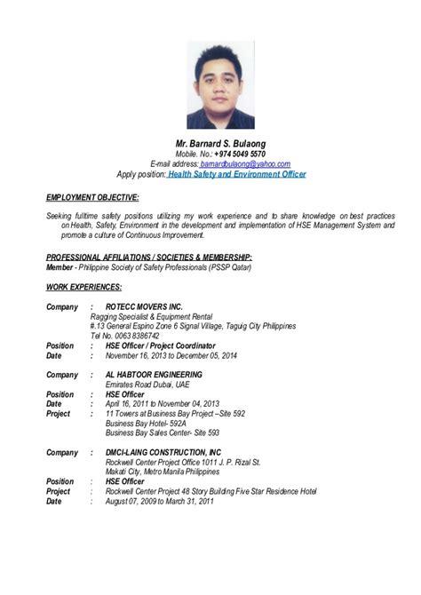 Safety Officer Sle Resume Philippines Cv Of Barnard Bulaong Hse Officer