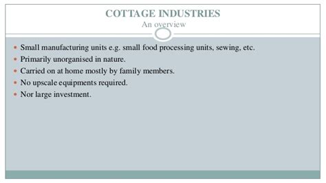 Study Of Cottage Industry In India presentation on study of unorganized cottage industries