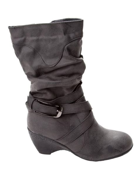 womens black slouch mid calf wedge boots uk size 3