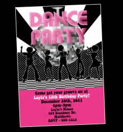 disco dance party birthday invitation