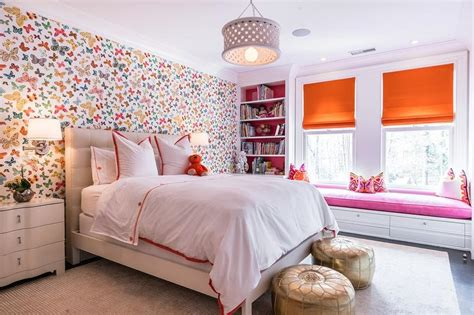 girls bedroom wallpaper pink and orange girl bedroom with lulu dk butterfly multi