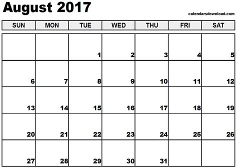 empty calendar template august 2017 calendar printable templates printable