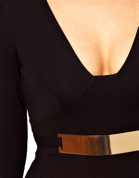 asos asos bodycon dress with gold belt at asos