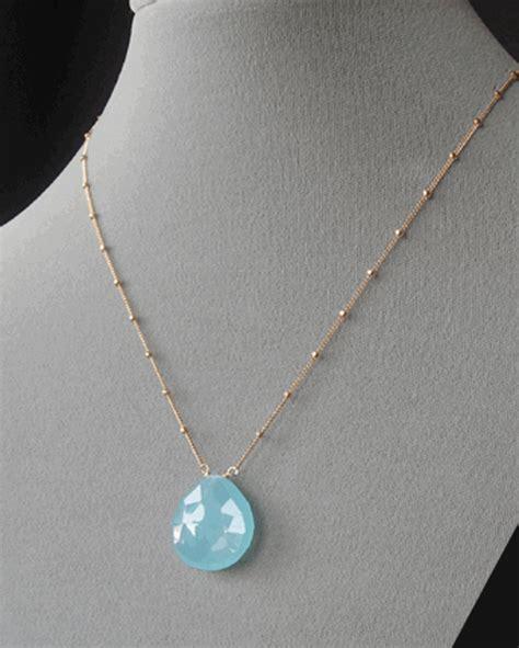drop pendant blue chalcedony necklace at dasha boutique