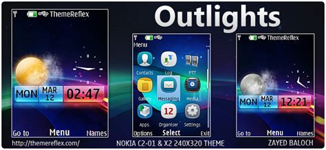 nokia c2 00 themes with ringtone outlights live theme for nokia x2 00 c2 01 240 215 320