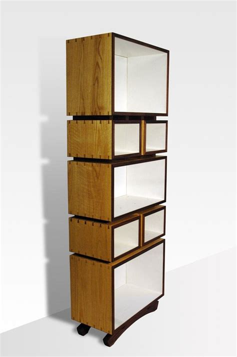 custom contemporary box bookshelves by white and red works