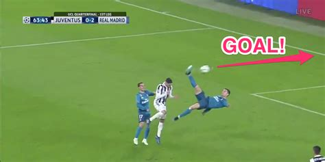 ronaldo goal juventus cristiano ronaldo scores with an bicycle kick in the chions league that even