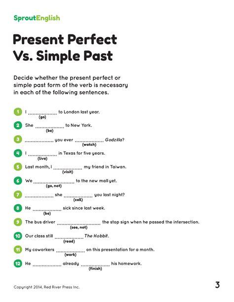 present perfect simple sentence pattern present perfect exercises pdf grammar pinterest