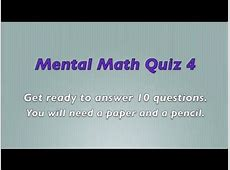 Mental Math Quiz 4 - Grades 2 and 3 Math - Numeracy Skills ... Maths Quiz Questions With Answers For Class 10