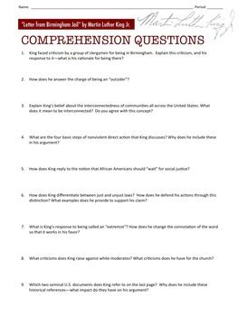 Letter From Birmingham Worksheet Answers by Quot Letter From Birmingham Quot Comprehension Questions By