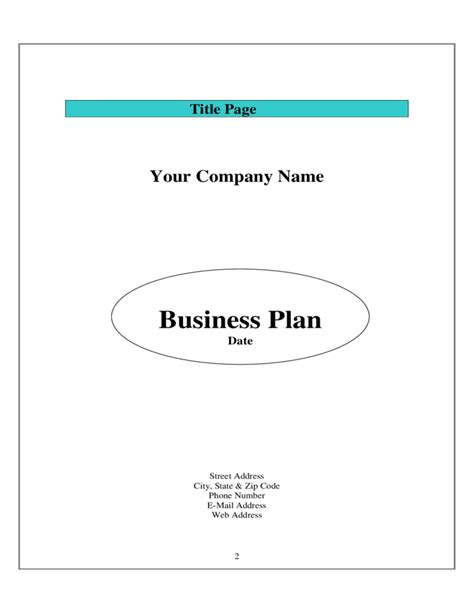 business plan templat sle business plan template free