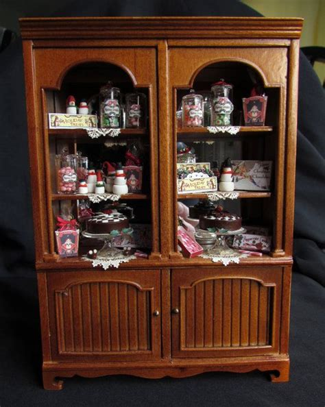 doll house cabinet christmas miniature dollhouse cabinet bakery sweet shop display igma
