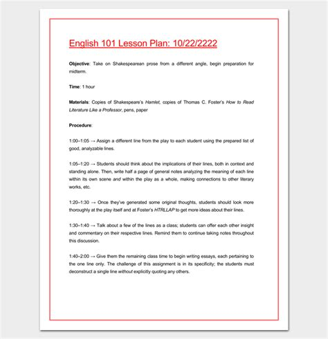 Lesson Plan Outline Template 23 Exles Formats And Sles College Lesson Plan Template