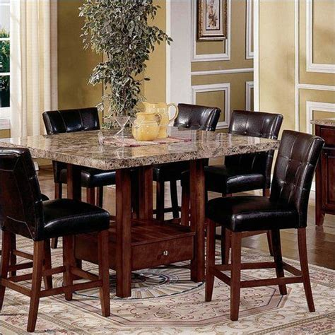 Marble Top Kitchen Table Sets 5 Kitchen Dining Set Square Marble Top Counter Height Table And 4 Chairs Marble Top