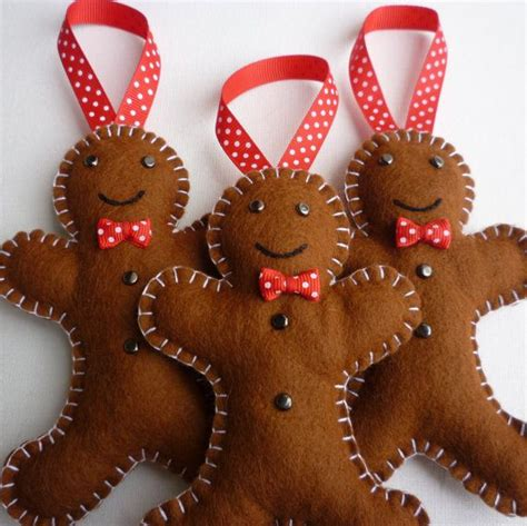 felt gingerbread men handmade ornaments