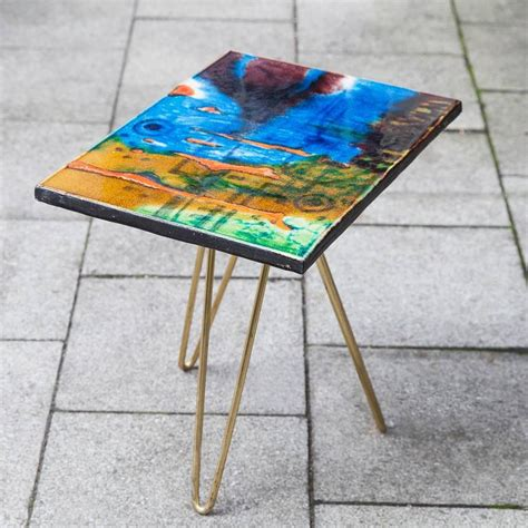 colorful side tables colorful ceramic tripod side table italy 1955 for sale