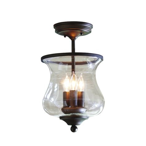 clear glass flush mount ceiling light shop allen roth yately 8 68 in w aged bronze clear glass