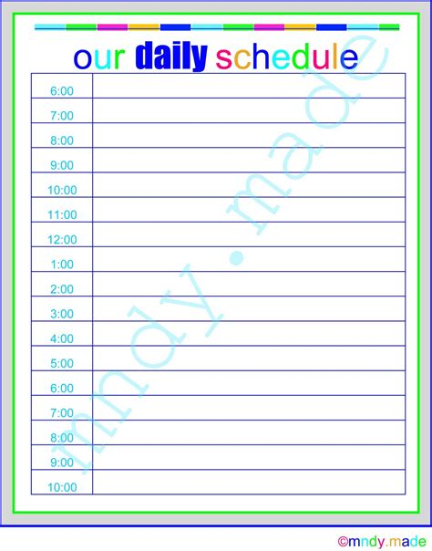 free printable daily schedule pictures 24 hour daily schedule printable calendar template 2016