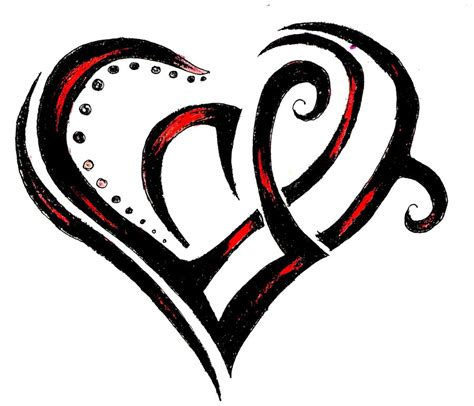 tribal heart tattoo and black ink tribal design