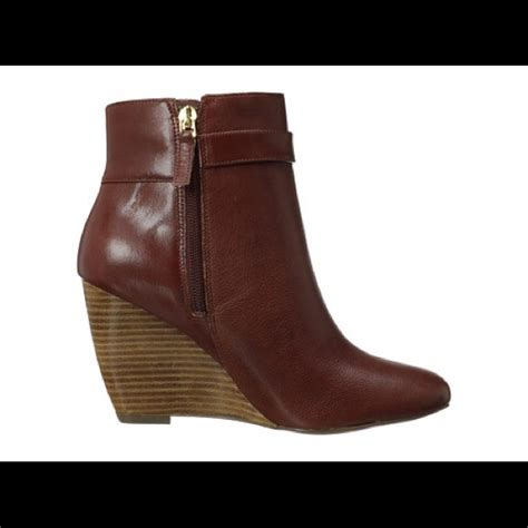 nine west new nine west brown zapper ankle wedge boots