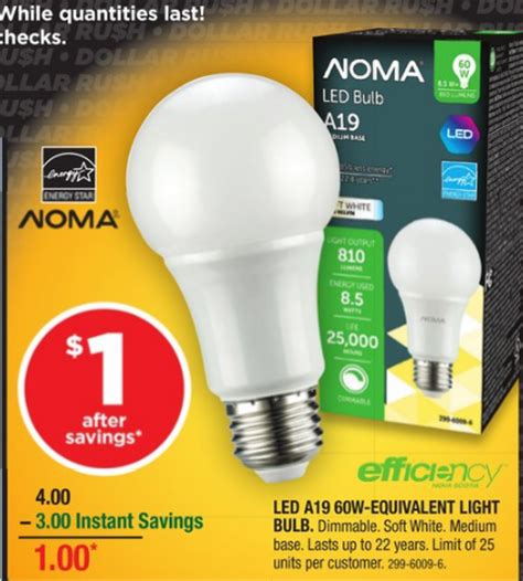 Canadian Tire Led Light Bulbs Canadian Tire Noma 60w Equivalent Led Light Bulb 1 After Coupon Apr 8 10 On Only