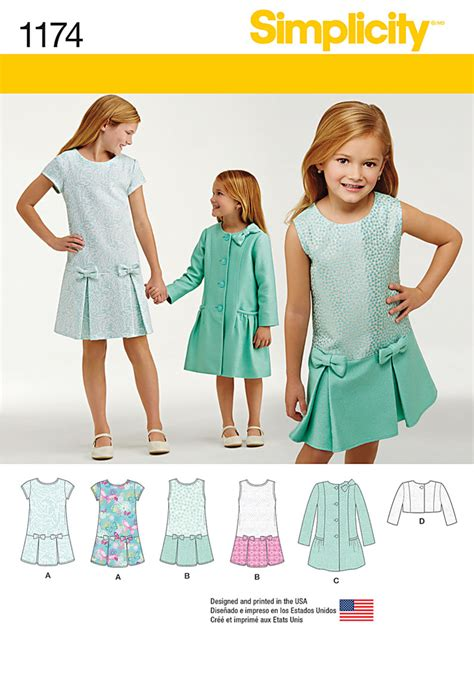 pattern dress child 1174 simplicity pattern child s and girls dress coat and