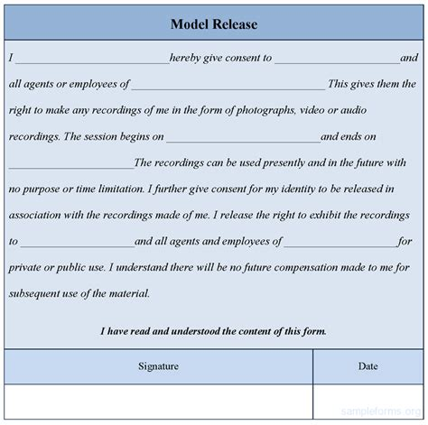 Model Release Form Template Sle Forms Model Photo Release Form Template