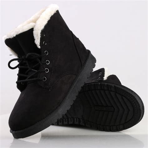 Faux Fur Lace Up Ankle Boots womens suede winter warm casual faux fur lace up ankle