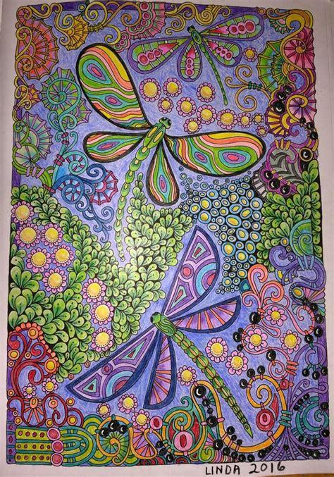 creative haven entangled dragonflies colored  linda