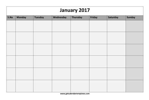 Blank Printable Calendar Template 2017 2017 Blank Calendar Printable Templates Get Calendar