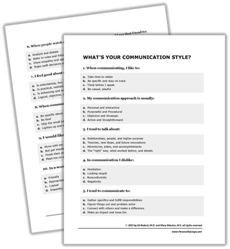 printable communication quiz communicationquizkit personality lingo