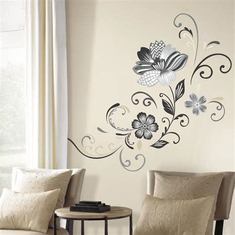 peel and stick wall decor black and white flower scroll peel and stick giant wall