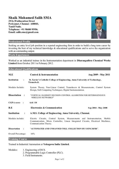 Resume Sles For Freshers Engineers Eee Mechanical Engineer Resume Format For Fresher Resume Format