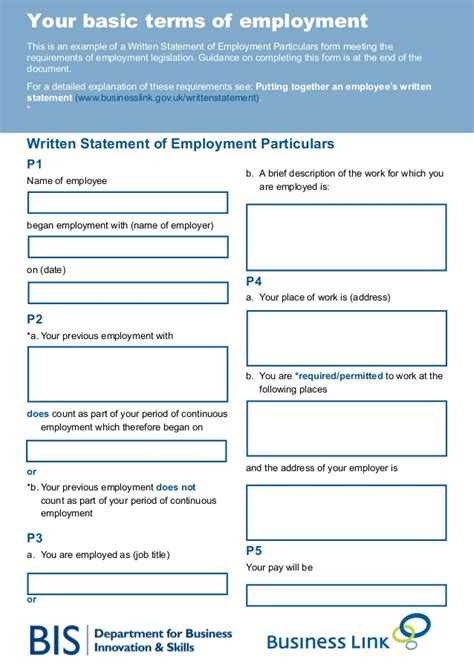 statement of terms and conditions of employment template your basic terms of employment