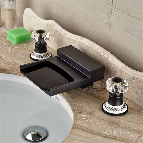 hot cold bathroom faucet yakso dual handle oil rubbed bronze water fall bathroom